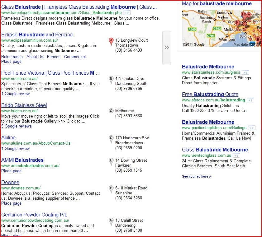 Google Plave Business Listings Serps Nov 2011